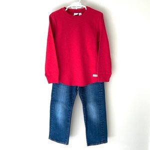 Gap boys blue jeans with NWT long sleeve red T 4
